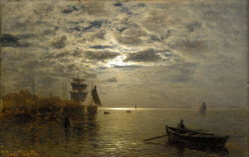 Louis Douzette, Coastal landscape in the moonlight