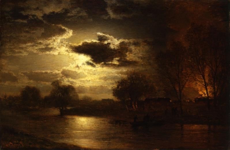 Louis Douzette, Das Feuer, Mondnacht mit Dorfbrand, 1901