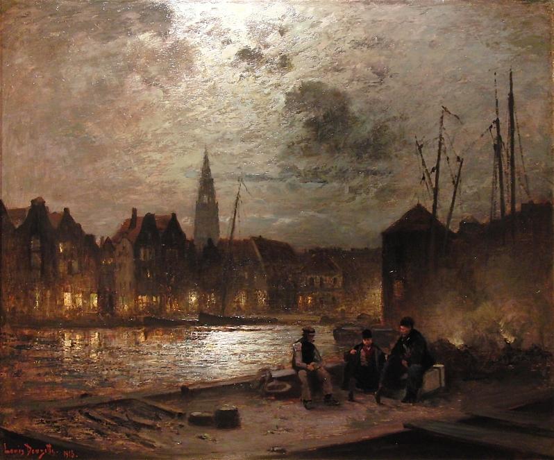 Louis Douzette, Hafen bei Mondschein mit Personenstaffage