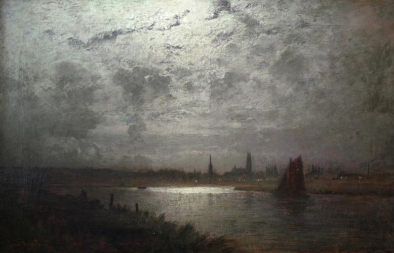 Louis Douzette, Landschaft Blick auf Lübeck im Mondschein, 1912