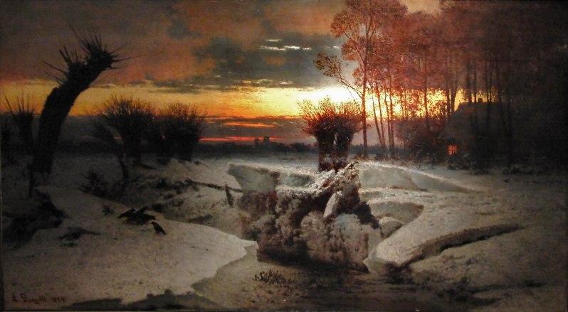 Louis Douzette, Märkische Winterlandschaft bei Sonnenuntergang, 1874