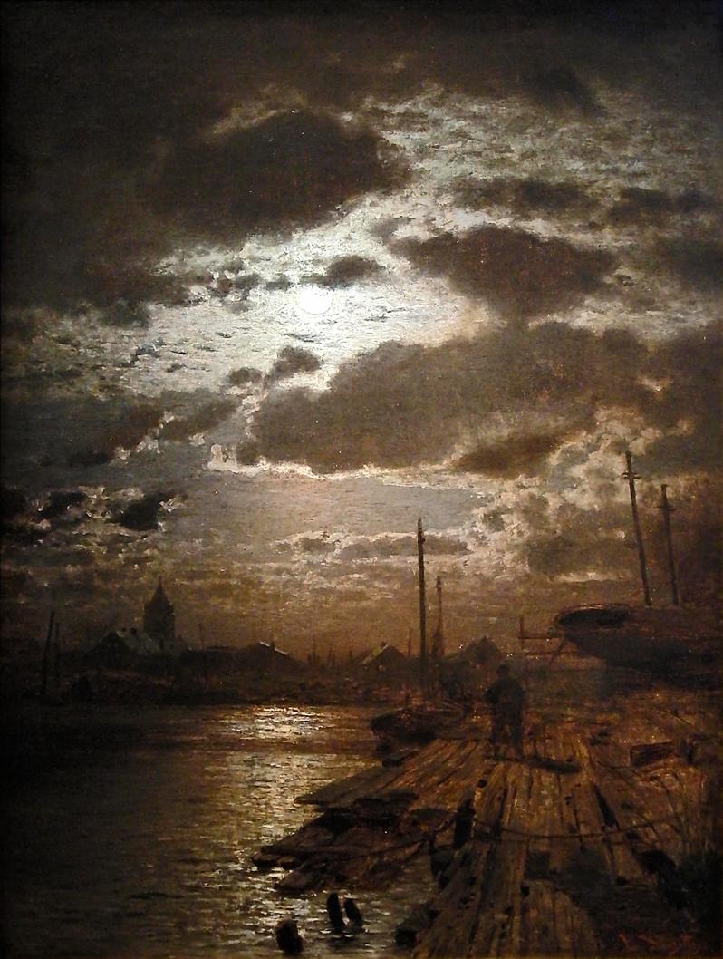 Louis Douzette, Mondschein über Barther Werft