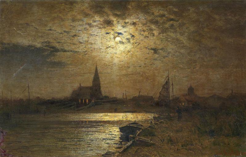 Louis Douzette, Vollmondnacht über dem Hafen von Barth am Bodden, 1906