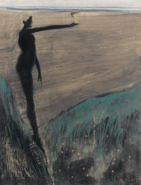 Leon Spilliaert, Femme nue tenant une coupe, 1910