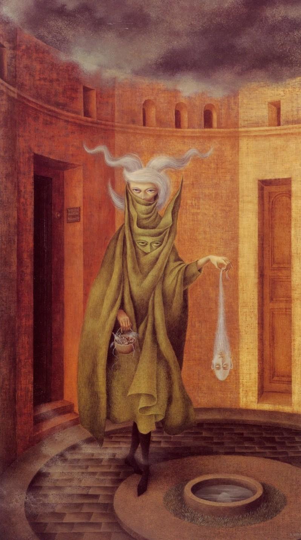 Remedios Varo, Mujer saliendo del psicoanalista, 1960