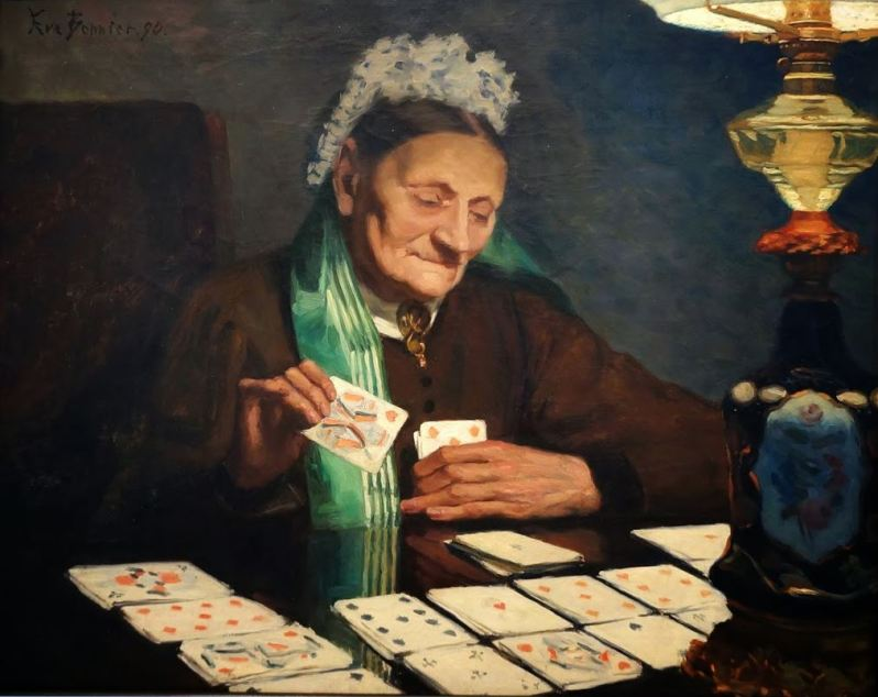 Eva Bonnier, Old Lady Playing, 1890