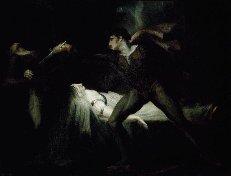 Johann Heinrich Füssli, Romeo stabs Paris at the bier of Juliet, c.1809