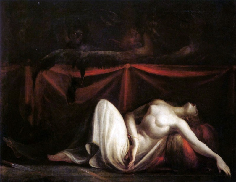 Johann Heinrich Füssli, The Erinyes Drive Alcmaeon from the Corpse of his Mother, Eriphyle, Whom He Has Killed, 1821