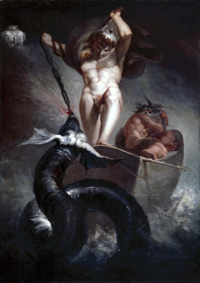 Johann Heinrich Füssli, Thor fighting the mighty worm Jormundgandr at fishing trip with a giant