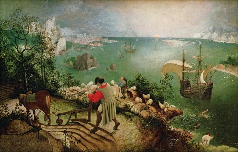 Pieter Brueghel el Viejo, Landscape with the Fall of Icarus, c.1558