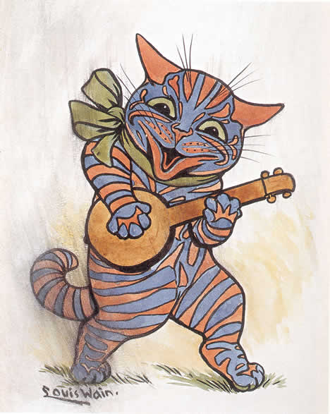 Louis Wain, Cat with lute