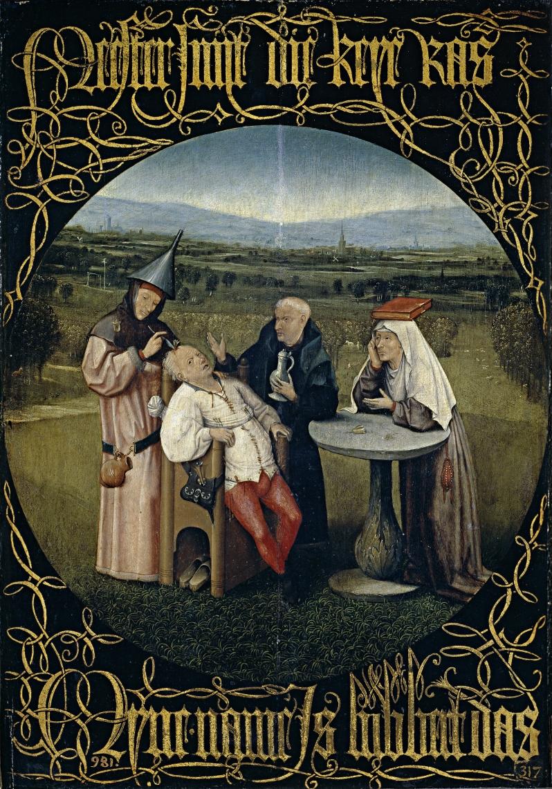 El Bosco, Extracción de la piedra de la locura, c.1480