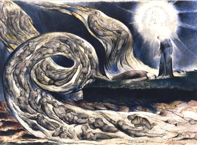 William Blake, The Lovers' Whirlwind, Francesca da Rimini and Paolo Malatesta, 1824-1827