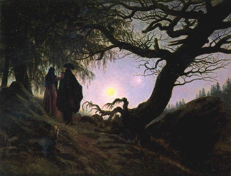 Caspar David Friedrich, Mann und Frau in Betrachtung des Mondes (Man and Woman contemplating the moon), c.1824