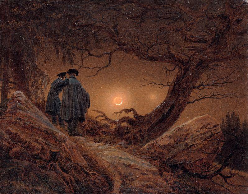 Caspar David Friedrich, Zwei Männer in Betrachtung des Mondes (Two men contemplating the Moon), 1820