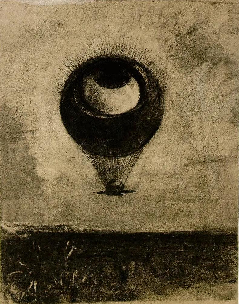 odilon-redon-a-edgar-poe-loeil-comme-un-ballon-bizarre-se-dirige-vers-linfini-1882